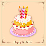 birthday card with cake tier, candles, cherry and text