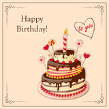 birthday card with cake tier, candle, cherry, candy and text