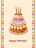 birthday card with cake tier, candles and cherry