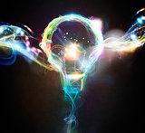 Colourful lighting bulb