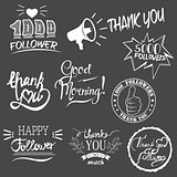 Set of vintage Thank you badges, labels