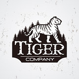 Bengal Tiger in forest logo vector. Mascot shirt design template. Shop or product illustration. Expedition insignia, Sport team logotype on light background.