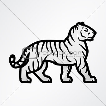 Tiger logo vector. Mascot design template. Shop or product illustration. Expedition insignia, Sport team logotype on light background.