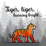 Bengal Tiger in forest poster design. Double exposure vector template. Old poem by William Blake illustration on foggy background.
