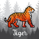 Double exposure Bengal Tiger in forest poster design. vector illustration on foggy background.