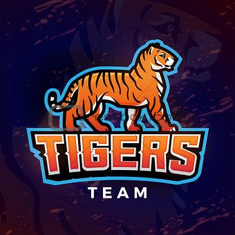 Tiger mascot vector. Sport logo design template. Football or baseball illustration. College league insignia, School team logotype on dark background.