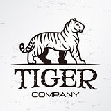 Tiger logo emblem template. Brand mascot symbol for business or shirt. Vector Vintage Design Element.