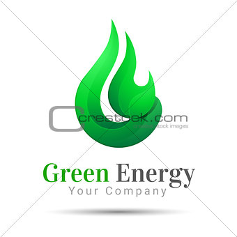 Flame Bright Green energy logo template. Vector business icon. Corporate branding identity design illustration for your company. Creative abstract concept.