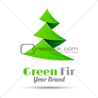 Fir-tree logo template. Vector business icon. Corporate branding identity design illustration for your company. Creative abstract concept.
