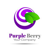 Blueberry purple colorful logo berry icon. Vector business. Corporate branding identity design illustration for your company. Creative abstract concept.
