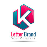 letter K. logo template. Vector business icon. Corporate branding identity design illustration for your company. Creative abstract concept.