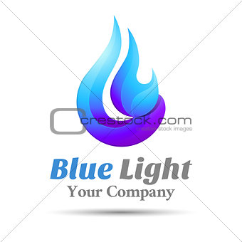 Flame Blue logo template. Vector business icon. Corporate branding identity design illustration for your company. Creative abstract concept.