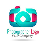 Photography studio, photographer, photo logo template. Vector business icon. Corporate branding identity design illustration for your company. Creative abstract concept.