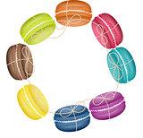 Circular frame with macaroons