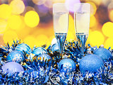 glasses, blue Xmass balls on blurry background 4