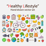 Healthy lifestyle sticker set