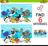 differences game with birds