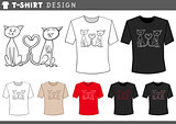 t shirt with cats couple