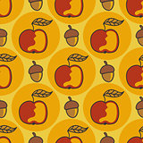 Autumn pattern with apples, nuts. Doodle.