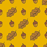 Autumn pattern with nuts and leaves.