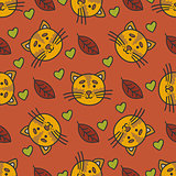 Doodle autumn pattern with cat, leaves and hearts.