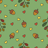 autumn pattern with nuts, leaves, hearts.