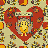Autumn pattern with hedgehog, nuts, leaves, apples.