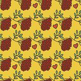 Kalina, leaves, hearts, autumn pattern.