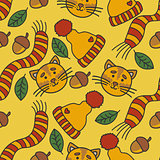 Autumn pattern with cats, hat, scarf, leaves and nuts.