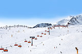 Skiers and chairlifts in Solden, Austri
