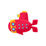 Red Submarine Toy Boat
