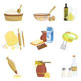 Baking Process And Kitchen Equipment Set Of Isolated Items