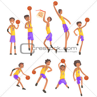 Basketball Players Of Same Team Action Stickers