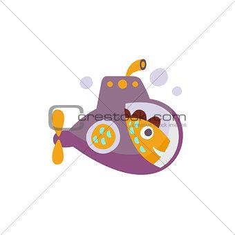 Fish On Submarine Stylized Fantastic Illustration