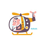 Pig Driving A Helicopter Stylized Fantastic Illustration