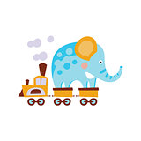 Elephant On Train Wagon Stylized Fantastic Illustration