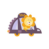Lion Taxi Driver Stylized Fantastic Illustration
