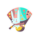 Bunny Riding Hot Air Balloon Stylized Fantastic Illustration
