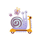 Snail Riding A Scooter Stylized Fantastic Illustration