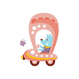 Dog Driving Pink Car Stylized Fantastic Illustration