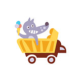 Wolf Riding A Wagon Holding Ice-cream Stylized Fantastic Illustration