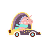 Unicorn In Racing Car Stylized Fantastic Illustration
