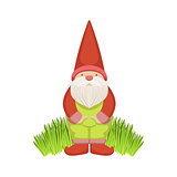 Garden Gnome Standing On Grass