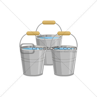 Three Metal Buckets With Water