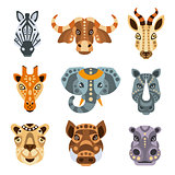 African Animals Stylized Geometric Portrait Set
