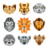 African Animals Stylized Geometric Heads Set