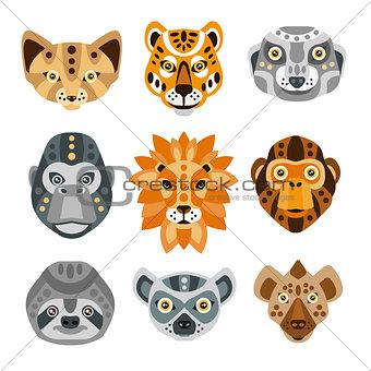 African Animals Stylized Geometric Heads Set