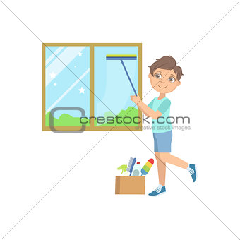 Boy Washing The Window With Wiper