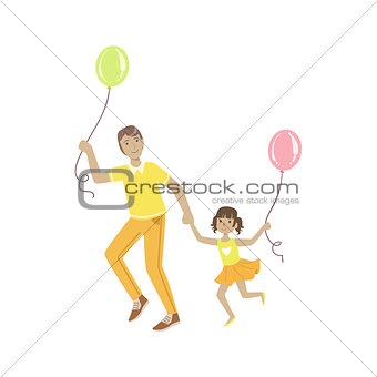 Dad Playing With Daughter  Air Balloons