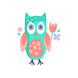 Owl With Party Attributes Girly Stylized Funky Sticker